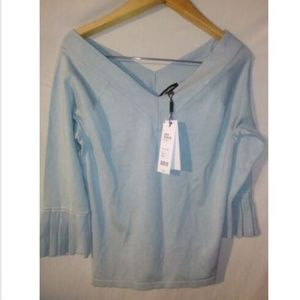 V Neck Small Light Baby Blue Pullover Sweater